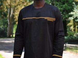 Black & Gold African Polished Cotton Shirt