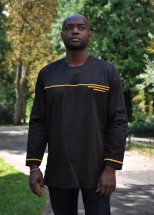 African Men Long Sleeve Gold And Black embroidery Polished Cotton Shirt