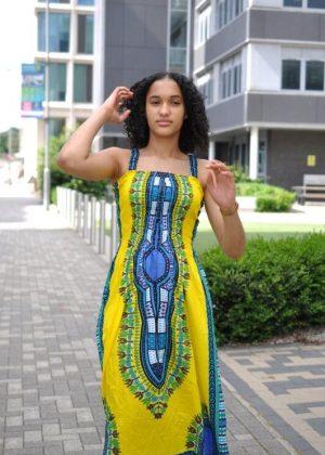 Dashiki Midi Boho Strap Dress - Front Image