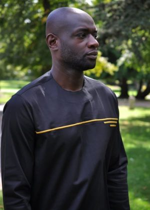 Black & Gold African Polished Cotton Shirt Close Front Image