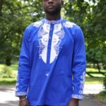 Blue & White African Embroidered Shirt