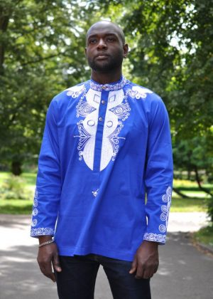 Blue African Shirt made from Polished Cotton with White Embroidery and long sleeves
