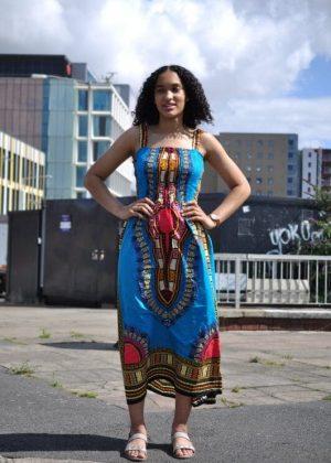 African Print Strap/Bandeau Knee Length Dashiki Dress