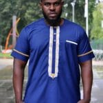 Blue Short Sleeved African Embroidery Shirt