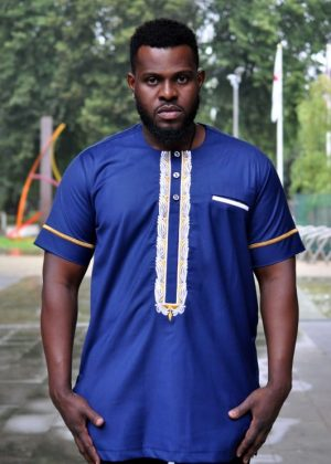 Short Sleeve Navy Blue African Embroidery Men Polished Cotton Shirt