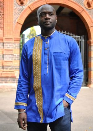 African Men Long sleeve Royal And Gold embroidery Polished Cotton Shirt With Front Buttons