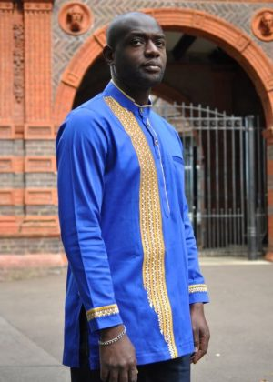 Sky Blue & Gold African Embroidery Shirt Side Image