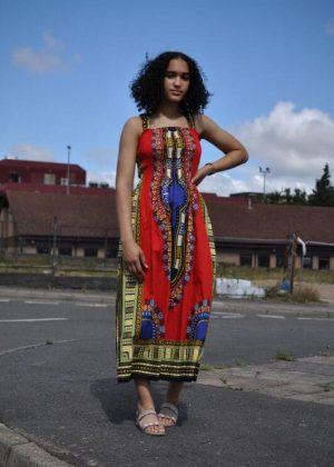 African Print Strap knee Length Dashiki Dress