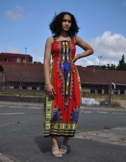 Red Dashiki Summer Dress