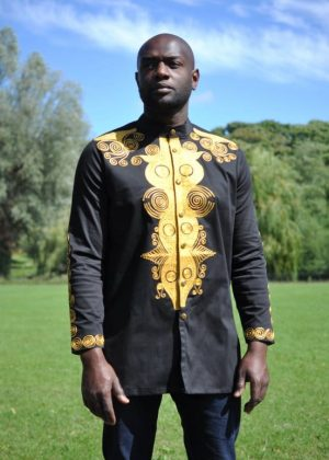 Black & Gold African Embroidery Shirt Product Image