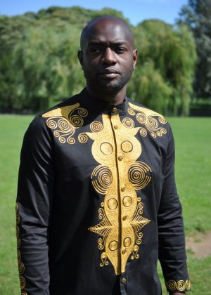 Black & Gold African Embroidery Shirt Front Image