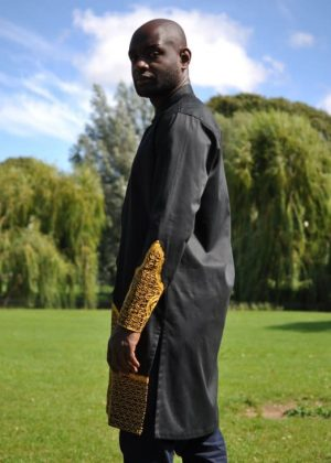 Long Black & Gold African Embroidery Shirt Image of Side