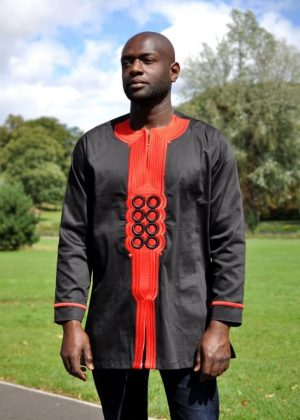 African Men Black And Red embroidery Polished Cotton Shirt