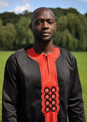 Black & Red African Embroidery Shirt Close Front Image
