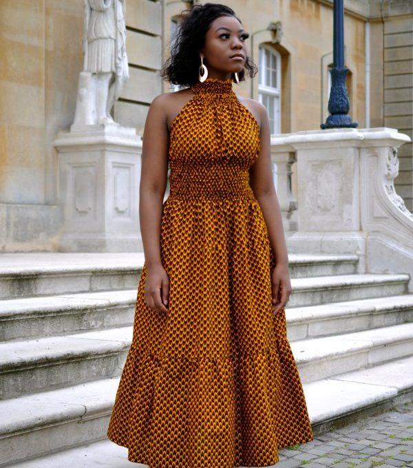 Mustard Halter Maxi Print Dress