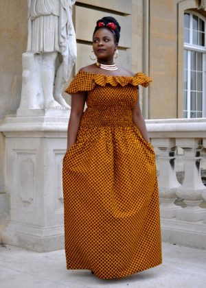 Mustard Yellow African Print Maxi Cape Dress With Pocket