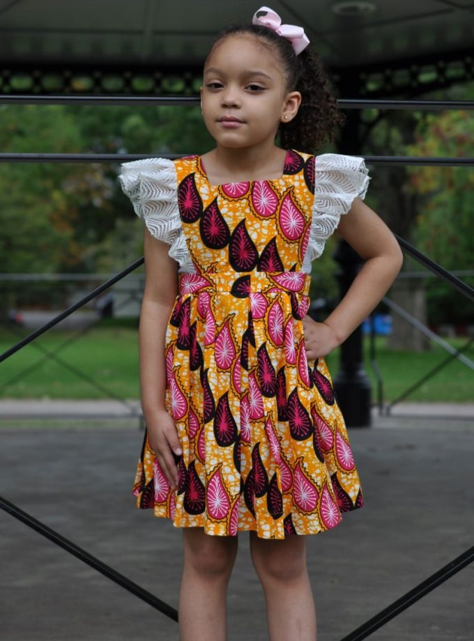 Girls size 5-7 years African print teardrop occasion dress with lace shoulder ruffle