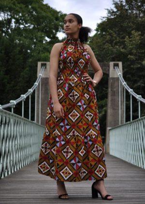 African Maxi Halter Neck full length Summer Dress