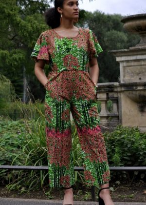 Multi Coloured African Print Wide Leg Jumpsuit With Flare Sleeve