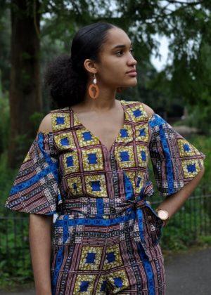 Blue & Gold African Print Cold Shoulder Jumpsuit Close Front Image