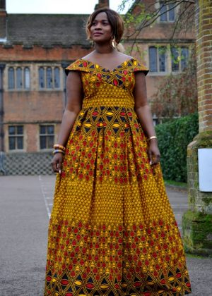 African Print Kente Maxi Cape Sleeve And Off shoulder Smart Dress