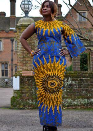 Sunflower African Print Full Length Elegant Pencil Dress