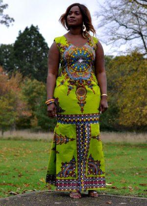 Green African Print Full Length Elegant Dress