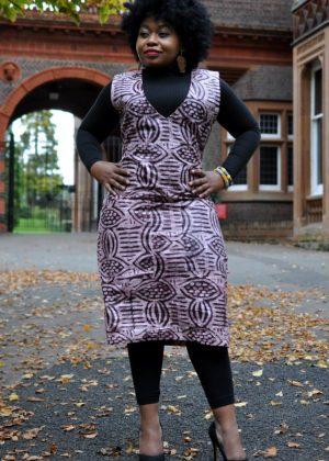 Sleeveless Batik Print Tunic Midi Dress in Brown Front Image