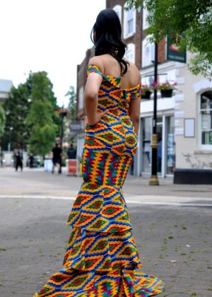 African Kente Elegant Prom Full Length Dress For Any Special Event