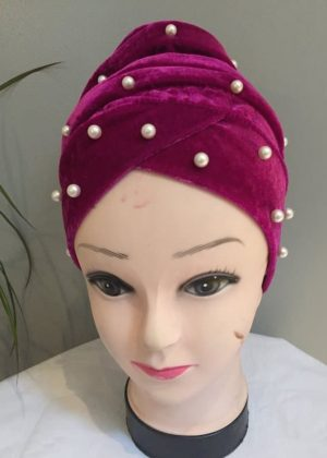 Ladies Velvet Turban Hijab Studded Head Wrap