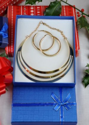 Gold Plated Statement bridal necklace With Earrings