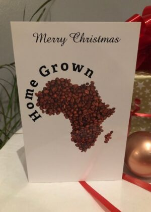 African Map With Coffee Beans Design Christmas Card