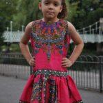 Kids size 5-7 Year Old Ankara Casual Pink Dress