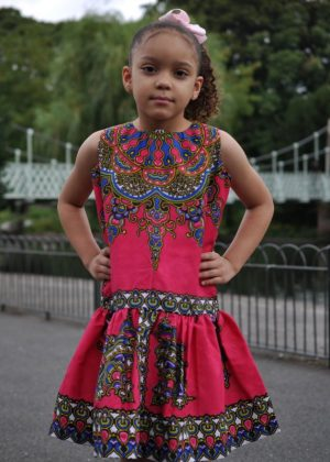 Kids size 5-7 Year Old Ankara Casual Pink Dress