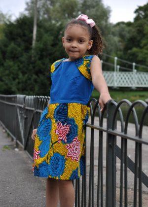 Girls' Blue & Yellow African Flower Print Summer Dress - Age 4 - 7 Years