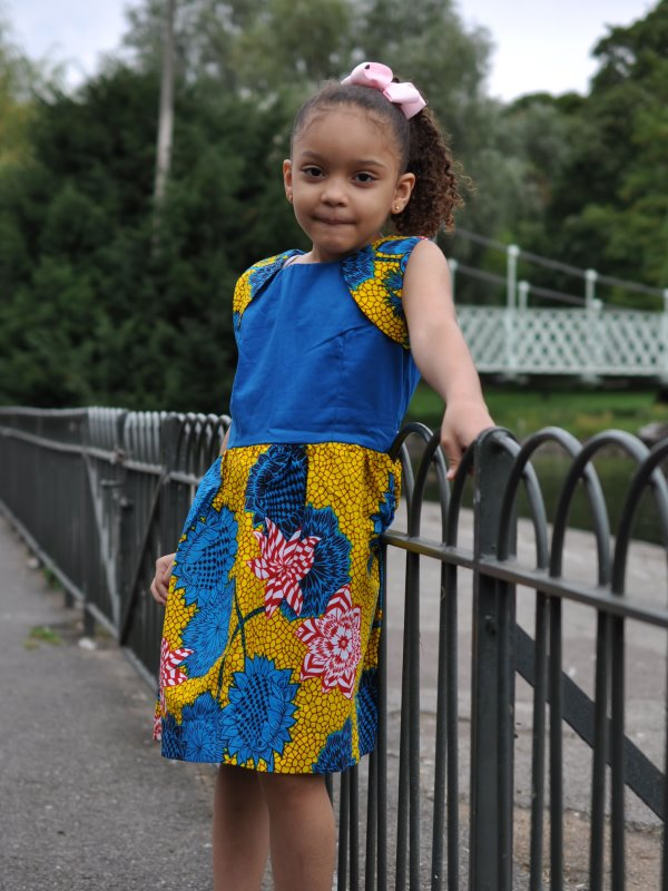 Kids 5-7 Year Old Casual African Print Multi Coloured Dress