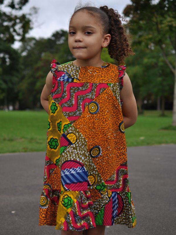 Kids size 5-7 Year Old Casual African Print Multi Coloured Dress