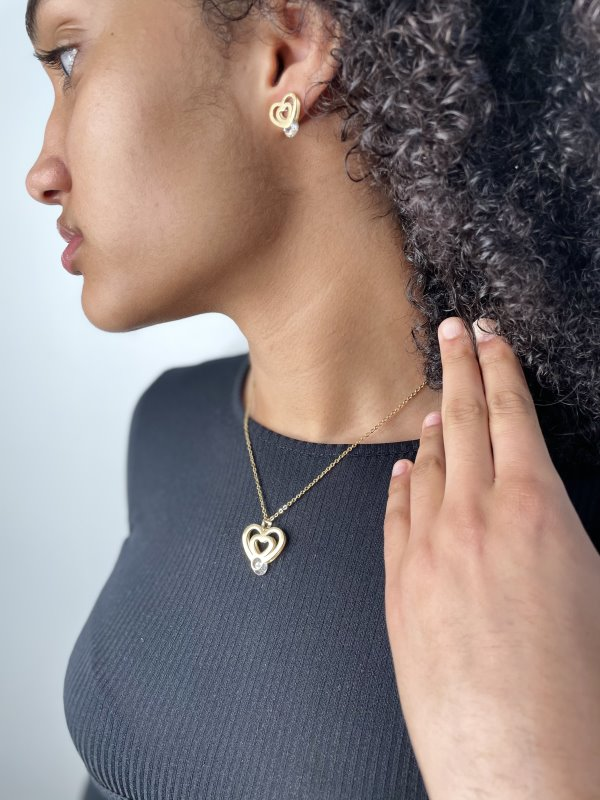 Gold Coloured Stainless Steel Necklace & Earring Set