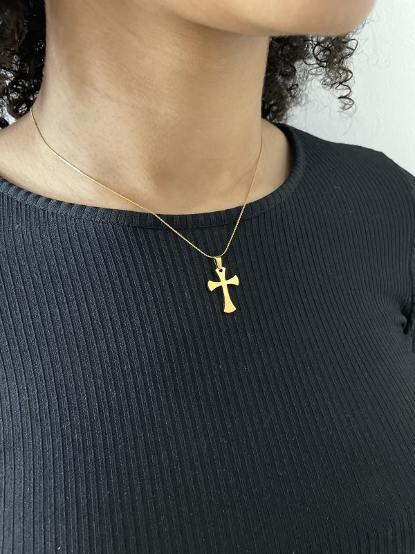 Gold Coloured Stainless Steel Necklace With Cross Pendant