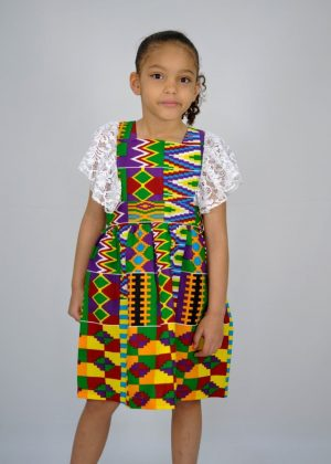 Kids African Print Kente Occasion Lace Trim Dress