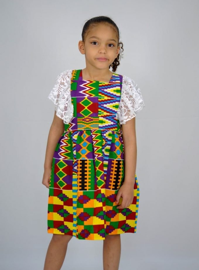Kids African Print Kente Occasion Lace Trim Dress