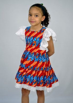 Kids African Print Occasion Lace Rim Dress