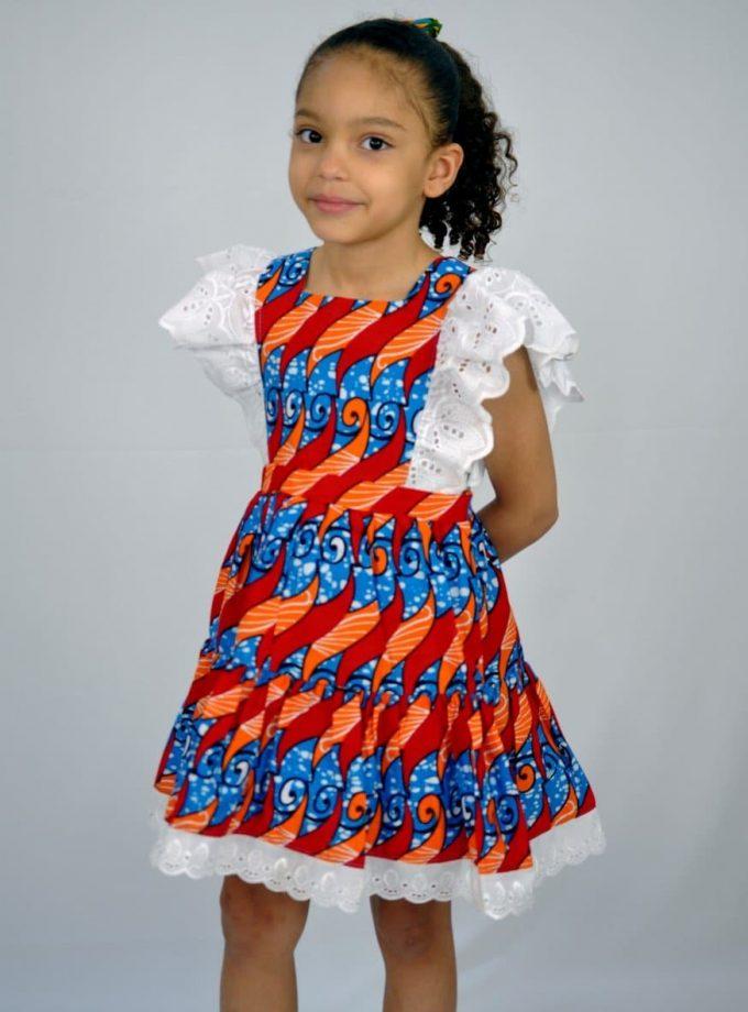 Kids African Print Occasion Lace Rim Dress