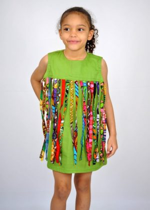 Kids African Print Fabric Tassle Occasion Dress
