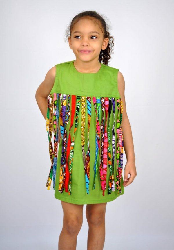 Kids African Print Fabric Tassle Occasion Dress