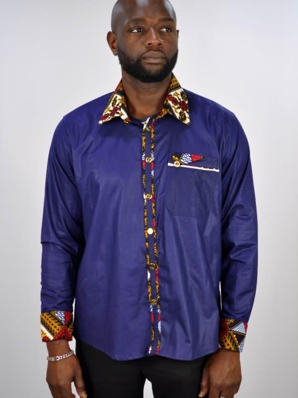 Blue Polished Cotton And Ankara Mix Smart Casual Shirt