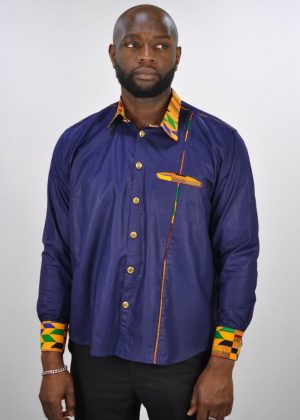 Blue Polished Cotton And Kente Mix Smart Casual Shirt