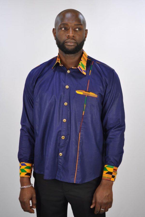 Blue Polished Cotton And Kente Mix Smart Casual Shirt