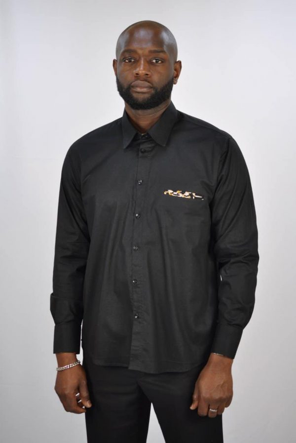 Black Polished Cotton And Kente Mix Smart Casual Shirt