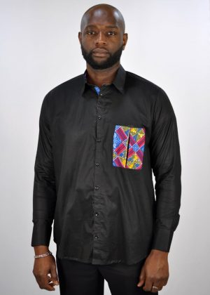 Kente Mixed Print Pocket Smart Casual Black Shirt Polished Cotton